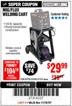 Harbor Freight Coupon MIG-FLUX WELDING CART Lot No. 69340/60790/90305/61316 Expired: 11/18/18 - $29.99