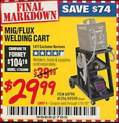 Harbor Freight Coupon MIG-FLUX WELDING CART Lot No. 69340/60790/90305/61316 Expired: 1/19/19 - $29.99