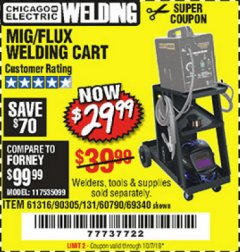 Harbor Freight Coupon MIG-FLUX WELDING CART Lot No. 69340/60790/90305/61316 Valid Thru: 10/1/19 - $29.99