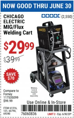 Harbor Freight Coupon MIG-FLUX WELDING CART Lot No. 69340/60790/90305/61316 EXPIRES: 6/30/20 - $29.99