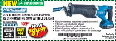 Harbor Freight Coupon HERCULES 20V PROFESSIONAL LITHIUM ION CORDLESS RECIPROCATING SAW Lot No. 64986 Valid Thru: 12/28/19 - $84.99
