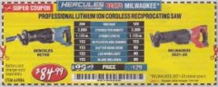 Harbor Freight Coupon HERCULES 20V PROFESSIONAL LITHIUM ION CORDLESS RECIPROCATING SAW Lot No. 64986 Expired: 7/31/19 - $84.99