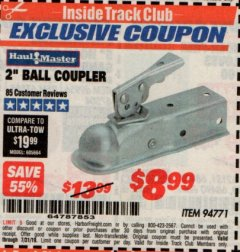 "Harbor Freight ITC Coupon 2"" BALL COUPLER Lot No. 94771 Expired: 7/31/19 - $8.99"
