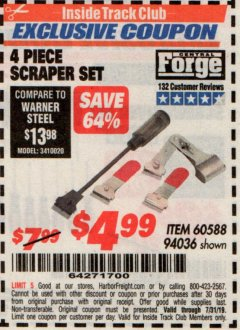 Harbor Freight ITC Coupon 4 PIECE SCRAPER SET Lot No. 60588/94036 Expired: 7/31/19 - $4.99