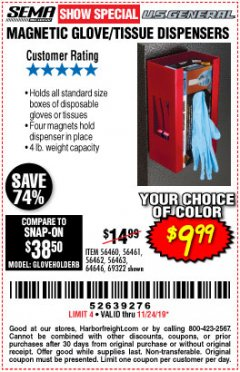 Harbor Freight Coupon MAGNET GLOVE/TISSUE DISPENSER Lot No. 69322 Expired: 11/24/19 - $9.99