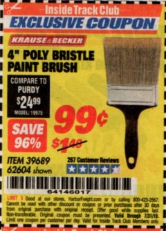 "Harbor Freight ITC Coupon 4"" POLY BRISTLE PAINT BRUSH Lot No. 39689/62604 Expired: 7/31/19 - $0.99"