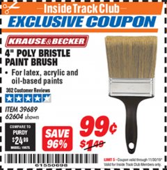 "Harbor Freight ITC Coupon 4"" POLY BRISTLE PAINT BRUSH Lot No. 39689/62604 Expired: 11/30/19 - $0.99"