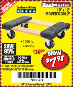 "Harbor Freight Coupon 18"" X 12"" MOVER'S DOLLY Lot No. 60497, 61899, 63095, 63096, 63097, 63098 Valid: 9/13/19 11/13/19 - $7.98"