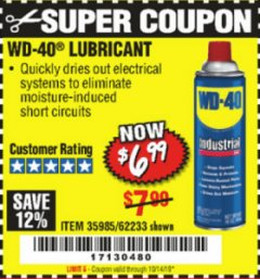 Harbor Freight Coupon WD-40 LUBRICANT Lot No. 35985/62233 Valid Thru: 10/14/19 - $6.99