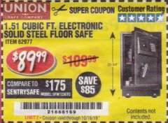 Harbor Freight Coupon 1.51 CUBIC FT. ELECTRONIC SOLID STEEL FLOOR SAFE Lot No. 62977 Valid Thru: 10/16/19 - $89.99