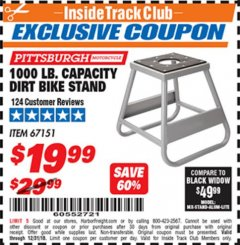 Harbor Freight ITC Coupon 1000 LB. CAPACITY DIRT BIKE STAND Lot No. 67151 Expired: 12/31/18 - $19.99