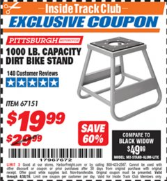 Harbor Freight ITC Coupon 1000 LB. CAPACITY DIRT BIKE STAND Lot No. 67151 Expired: 4/30/19 - $19.99