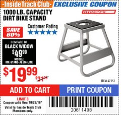 Harbor Freight ITC Coupon 1000 LB. CAPACITY DIRT BIKE STAND Lot No. 67151 Valid Thru: 10/22/19 - $19.99