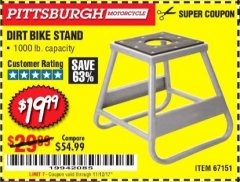 Harbor Freight Coupon 1000 LB. CAPACITY DIRT BIKE STAND Lot No. 67151 Expired: 11/12/17 - $19.99