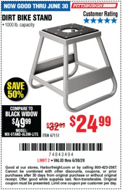 Harbor Freight Coupon 1000 LB. CAPACITY DIRT BIKE STAND Lot No. 67151 EXPIRES: 6/30/20 - $24.99