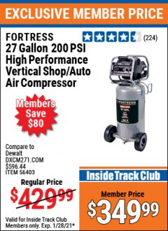Harbor Freight ITC Coupon FORTRESS 27 GALLON OIL-FREE PROFESSIONAL AIR COMPRESSOR Lot No. 56403 Valid Thru: 1/28/21 - $349.99