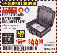 Harbor Freight Coupon FIRE RATED AND WATERPROOF DOCUMENT SAFE Lot No. 64919 Expired: 9/30/19 - $44.99
