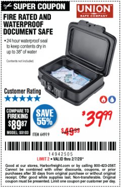 Harbor Freight Coupon FIRE RATED AND WATERPROOF DOCUMENT SAFE Lot No. 64919 Expired: 2/7/20 - $39.99