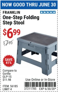 Harbor Freight Coupon FRANKLIN ONE-STEP FOLDING STEP STOOL Lot No. 56185 EXPIRES: 6/30/20 - $6.99
