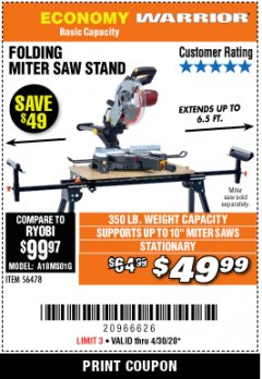 Harbor Freight ITC Coupon WARRIOR UNIVERSAL FOLDING MITER SAW STAND Lot No. 56478 Expired: 4/30/20 - $49.99