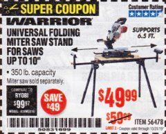 Harbor Freight Coupon WARRIOR UNIVERSAL FOLDING MITER SAW STAND Lot No. 56478 Expired: 10/31/19 - $49.99