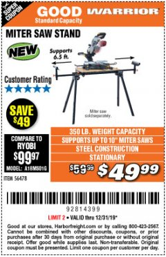 Harbor Freight Coupon WARRIOR UNIVERSAL FOLDING MITER SAW STAND Lot No. 56478 Expired: 12/31/19 - $49.99