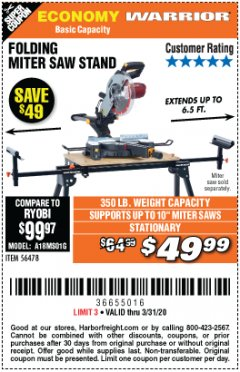 Harbor Freight Coupon WARRIOR UNIVERSAL FOLDING MITER SAW STAND Lot No. 56478 Expired: 3/31/20 - $49.99