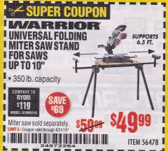 Harbor Freight Coupon WARRIOR UNIVERSAL FOLDING MITER SAW STAND Lot No. 56478 Expired: 8/31/19 - $49.99