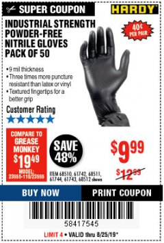 Harbor Freight Coupon $10 OFF ANY BAUER OUTDOOR TOOL Lot No. 64941,64996,64995,64940,64942 Expired: 8/25/19 - $9.99