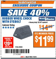 Harbor Freight ITC Coupon RUBBER WHEEL CHOCK WITH EYEBOLT Lot No. 69828/65320 Expired: 7/10/18 - $11.99