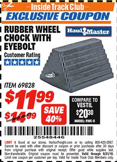 Harbor Freight ITC Coupon RUBBER WHEEL CHOCK WITH EYEBOLT Lot No. 69828/65320 Expired: 8/31/18 - $11.99