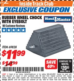 Harbor Freight ITC Coupon RUBBER WHEEL CHOCK WITH EYEBOLT Lot No. 69828/65320 Expired: 3/31/19 - $11.99