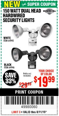 Harbor Freight Coupon 150 WATT DUAL HEAD HARDWIRED SECURITY LIGHTS Lot No. 64945, 64946 Expired: 8/11/19 - $19.99