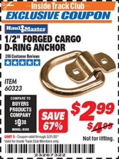 "Harbor Freight ITC Coupon 1/2"" FORGED CARGO D-RING ANCHOR Lot No. 60323 Expired: 3/31/20 - $2.99"