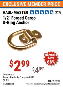 "Harbor Freight ITC Coupon 1/2"" FORGED CARGO D-RING ANCHOR Lot No. 60323 Expired: 9/30/20 - $2.99"
