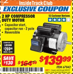 Harbor Freight ITC Coupon 2 HP COMPRESSOR DUTY MOTOR Lot No. 67842 Expired: 9/30/19 - $139.99