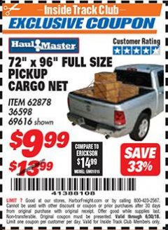 "Harbor Freight ITC Coupon 72"" x 96"" FULL SIZE PICKUP CARGO NET Lot No. 69616/36598 Expired: 6/30/18 - $9.99"