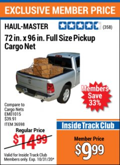 "Harbor Freight ITC Coupon 72"" x 96"" FULL SIZE PICKUP CARGO NET Lot No. 69616/36598 Expired: 10/31/20 - $9.99"