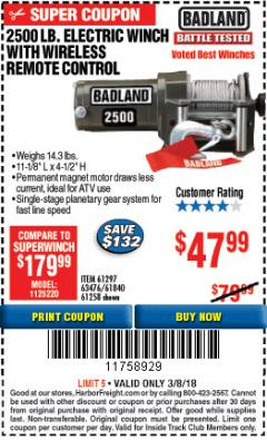 Harbor Freight ITC Coupon 2500 LB ELECTRIC WINCH WITH WIRELESS REMOTE CONTROL Lot No. 68146/61258/61297/61840 Expired: 3/8/18 - $47.99