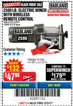 Harbor Freight Coupon 2500 LB ELECTRIC WINCH WITH WIRELESS REMOTE CONTROL Lot No. 68146/61258/61297/61840 Expired: 12/3/17 - $47.99