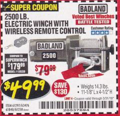 Harbor Freight Coupon 2500 LB ELECTRIC WINCH WITH WIRELESS REMOTE CONTROL Lot No. 68146/61258/61297/61840 Expired: 3/31/18 - $49.99