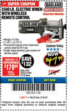 Harbor Freight Coupon 2500 LB ELECTRIC WINCH WITH WIRELESS REMOTE CONTROL Lot No. 68146/61258/61297/61840 Expired: 3/18/18 - $47.99