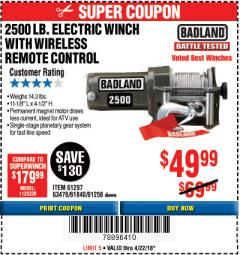 Harbor Freight Coupon 2500 LB ELECTRIC WINCH WITH WIRELESS REMOTE CONTROL Lot No. 68146/61258/61297/61840 Expired: 4/22/18 - $49.99