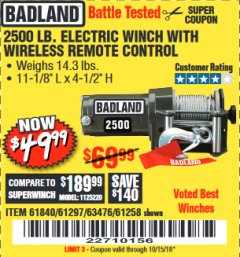 Harbor Freight Coupon 2500 LB ELECTRIC WINCH WITH WIRELESS REMOTE CONTROL Lot No. 68146/61258/61297/61840 Expired: 10/15/18 - $49.99