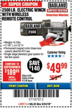 Harbor Freight Coupon 2500 LB ELECTRIC WINCH WITH WIRELESS REMOTE CONTROL Lot No. 68146/61258/61297/61840 Expired: 6/24/18 - $49.99