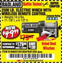 Harbor Freight Coupon 2500 LB ELECTRIC WINCH WITH WIRELESS REMOTE CONTROL Lot No. 68146/61258/61297/61840 Expired: 9/10/18 - $49.99