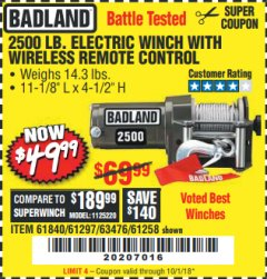 Harbor Freight Coupon 2500 LB ELECTRIC WINCH WITH WIRELESS REMOTE CONTROL Lot No. 68146/61258/61297/61840 Expired: 10/1/18 - $49.99