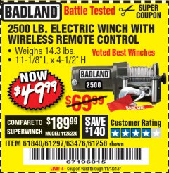 Harbor Freight Coupon 2500 LB ELECTRIC WINCH WITH WIRELESS REMOTE CONTROL Lot No. 68146/61258/61297/61840 Expired: 11/18/18 - $49.99