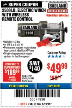 Harbor Freight Coupon 2500 LB ELECTRIC WINCH WITH WIRELESS REMOTE CONTROL Lot No. 68146/61258/61297/61840 Expired: 8/31/18 - $49.99