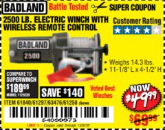 Harbor Freight Coupon 2500 LB ELECTRIC WINCH WITH WIRELESS REMOTE CONTROL Lot No. 68146/61258/61297/61840 Expired: 12/9/18 - $49.99